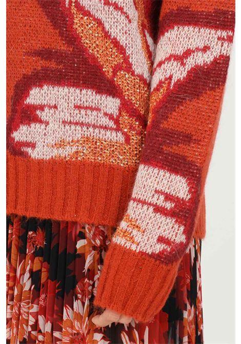 Maglione donna arancio patrizia pepe modello girocollo con inserti micro paillettes PATRIZIA PEPE | Maglieria | 2M4130/A9W2XV12