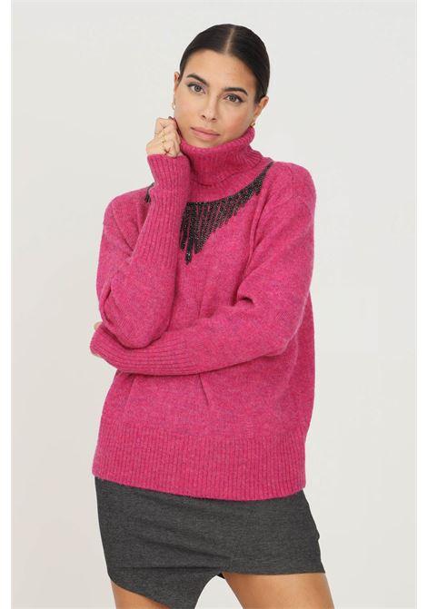 Maglioncino donna fucsia patrizia pepe a collo alto con applicazione strass sul davanti PATRIZIA PEPE | Maglieria | 2M4167/A9U1M406