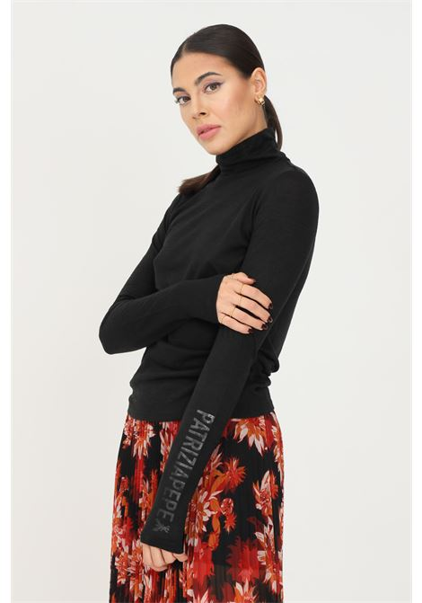 T-shirt donna nero patrizia pepe a manica lunga modello mezzo collo PATRIZIA PEPE | T-shirt | 2M4177/A9V8K103