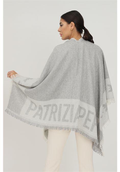 Mantella donna grigio patrizia pepe con banda logo a contrasto PATRIZIA PEPE | Mantelle | 2V9869/A400J2T3