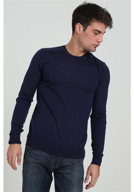 Blue men's sweater by patrizia pepe, crew neck model PATRIZIA PEPE | Knitwear | 5M1250/A124C850