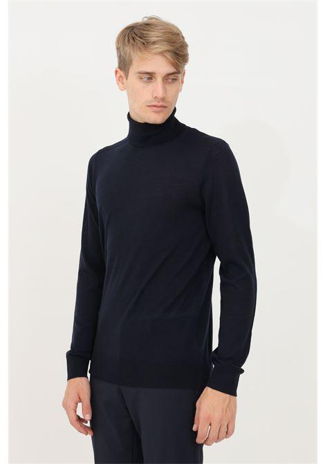 Blue men's sweater by patrizia pepe high neck model and lightweight fabric PATRIZIA PEPE | Knitwear | 5M1252/A124C166