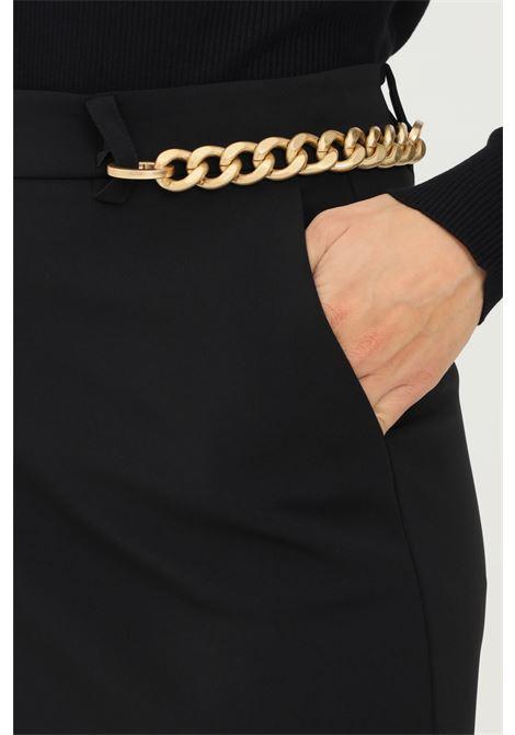 Black essential skirt by patrizia pepe with chain application PATRIZIA PEPE | Skirt | 8G0230/A6F5K103