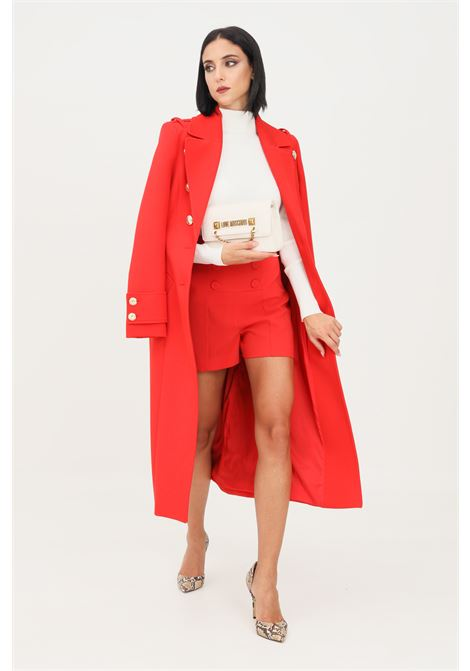 Red women's coat by patrizia pepe long cut with gold buttons PATRIZIA PEPE | Coat | 8S0384/A9F8R725