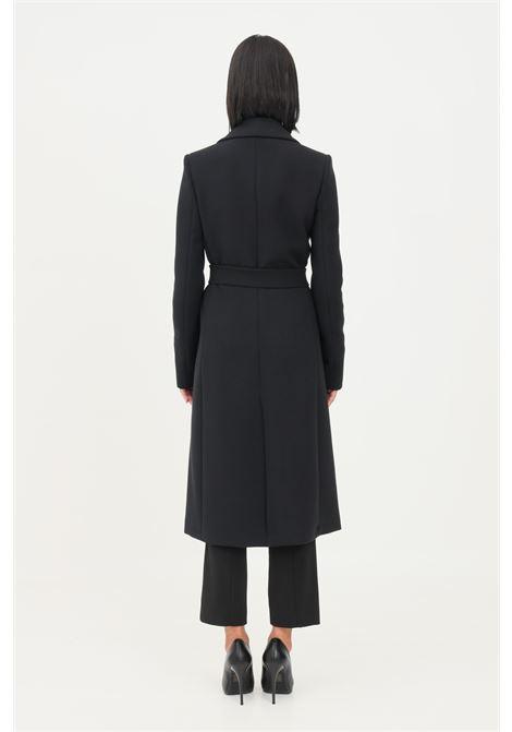 Black women's essential coat by patrizia pepe with belt PATRIZIA PEPE | Coat | 8S0398/A5J1K103