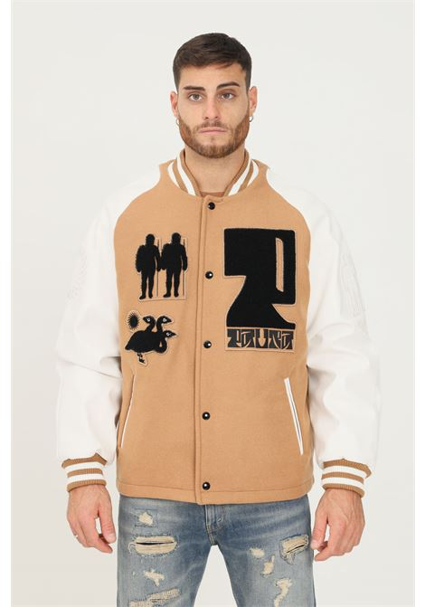 Camel men's jacket by paura with buttons PAURA   Jacket   06DP0016M06722CAMEL-WHITE