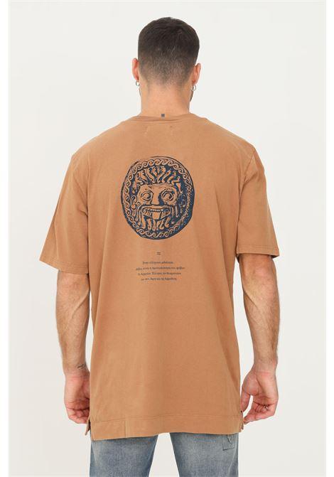 Brown men's t-shirt by paura with front print PAURA   T-shirt   06DP1003ST01725BROWN