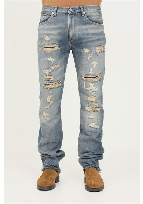 Blue men's jeans by paura with front abrasions PAURA   Jeans   06DP4018MSS400STRONG BLUE
