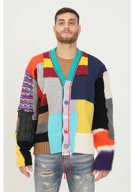 Multicolor men's cardigan by paura, front closure with buttons PAURA | Cardigan | 06DP9018M04998MULTICOLOR