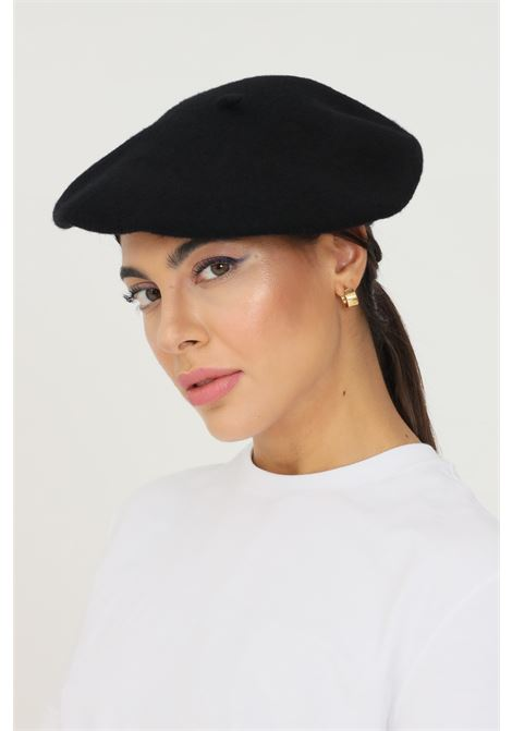 Black women's hat in solid color by pieces PIECES | Hat | 17090698.BLACK