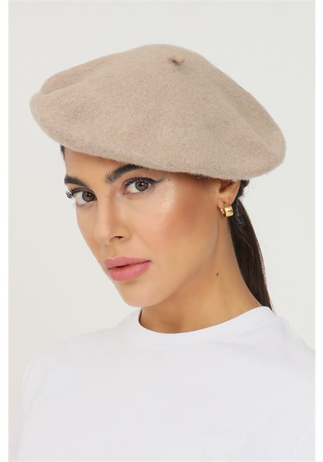 Beige women's hat in solid color by pieces PIECES | Hat | 17090698.SILVER