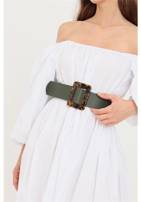 Cintura donna verde pieces con fibbia animalier PIECES | Cinture | 17099230.M089