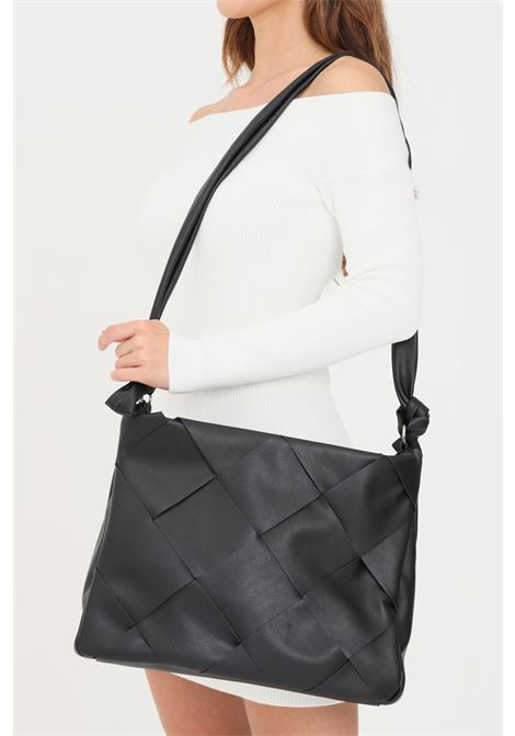 Black women's shopper by pieces with front texture PIECES   Bag   17116122BLACK/COGNAC