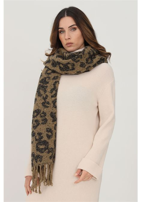 Fantasy women's scarf by pieces with mini fringes PIECES   Scarf   17116543OTTER LEOPARD