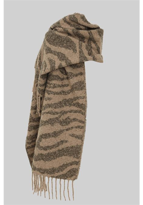 Fantasy women's scarf by pieces with mini fringes PIECES   Scarf   17116543SILVER MIN ZEBRA