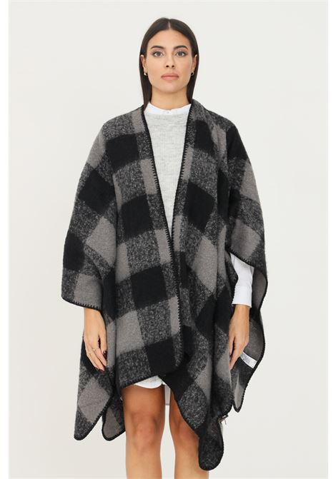 Grey women's cape with checked print PIECES      17116588CASTELROCK PATTERN