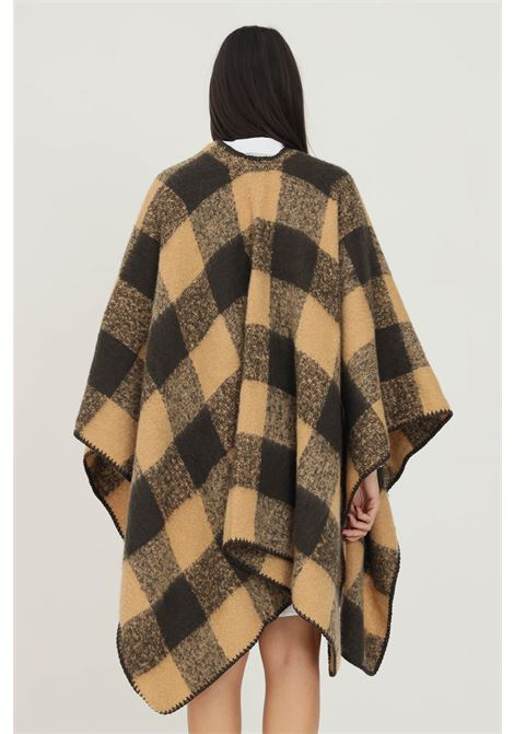 Brown women's cape with checked print PIECES      17116588ICED COFFE