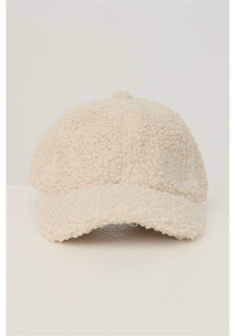Cream women's cap by pieces in heavy fabric PIECES | Hat | 17116751WHITCAP