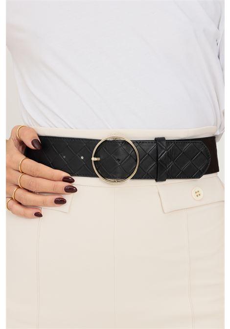 Black women's belt by pieces with geometric weft PIECES | Belt | 17117058.BLACK