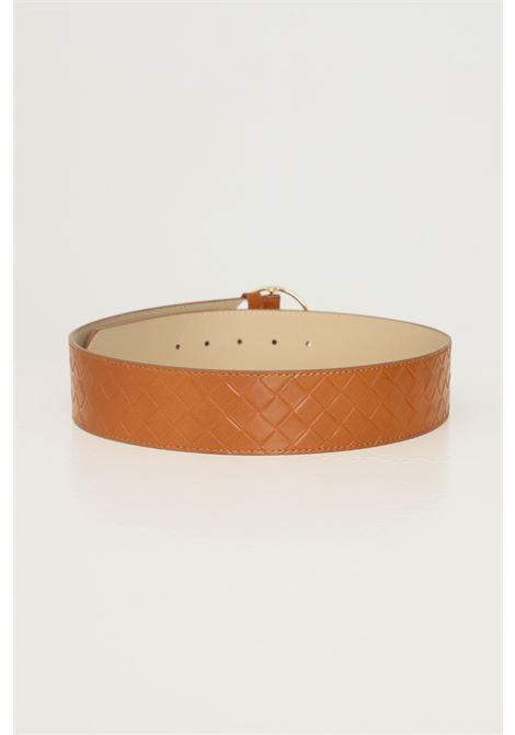 Cowhide women's belt by pieces with geometric weft PIECES   Belt   17117058.COGNAC
