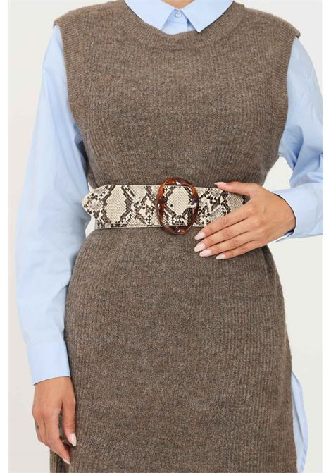 Pyton women's belt by pieces with maxi buckle PIECES | Belt | 17117061BEIGE-SNAKE