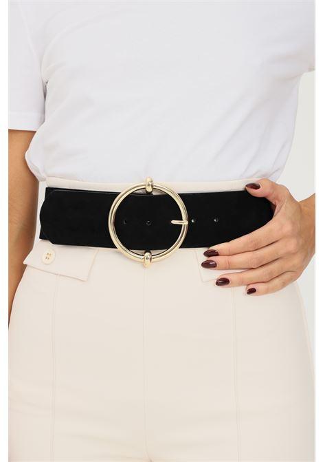 Black women's belt by pieces, suede effect PIECES | Belt | 17117062.BLACK