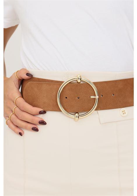 Cowhide women's belt by pieces, suede effect PIECES | Belt | 17117062.COGNAC