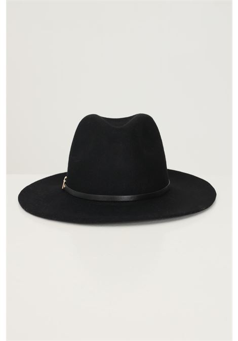 Black women's hat by pieces in solid color with metal applications PIECES | Hat | 17117440BLACK