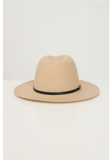 Beige women's hat by pieces in solid color with metal applications PIECES | Hat | 17117440TOASTED