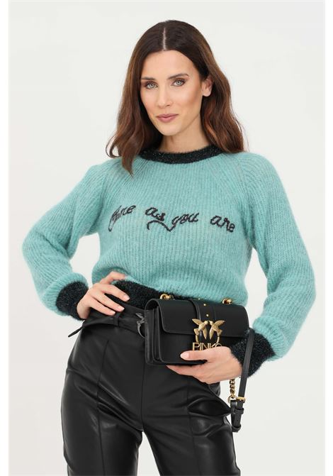 Green women's sweater with contrasting embroidery by pinko PINKO | Knitwear | 1G166L-Y7CHT70