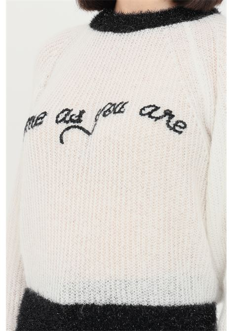 White women's sweater with contrasting embroidery by pinko PINKO | Knitwear | 1G166L-Y7CHZ15