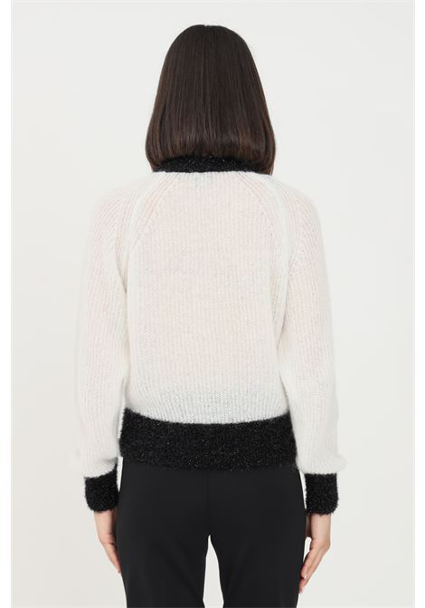 Maglioncino donna bianco pinko a girocollo con ricamo a contrasto PINKO | Maglieria | 1G166L-Y7CHZ15