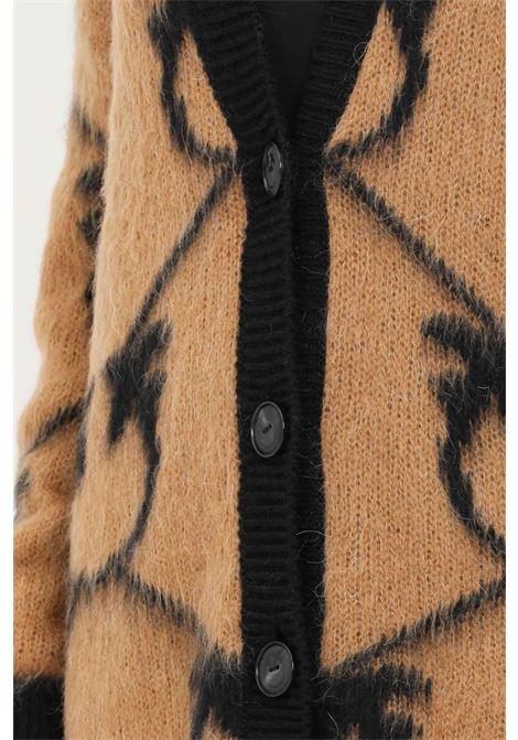 Cardigan donna cammello nero pinko con bottoni PINKO | Cardigan | 1G16BY-Y761CZ3