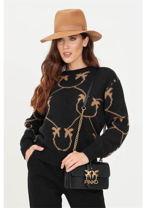 Maglioncino donna nero pinko con ricami a contrasto PINKO | Maglieria | 1G16C3-Y7GYZC0