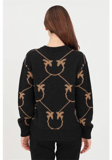 Black women's sweater with contrasting embroidery by pinko PINKO | Knitwear | 1G16C3-Y7GYZC0