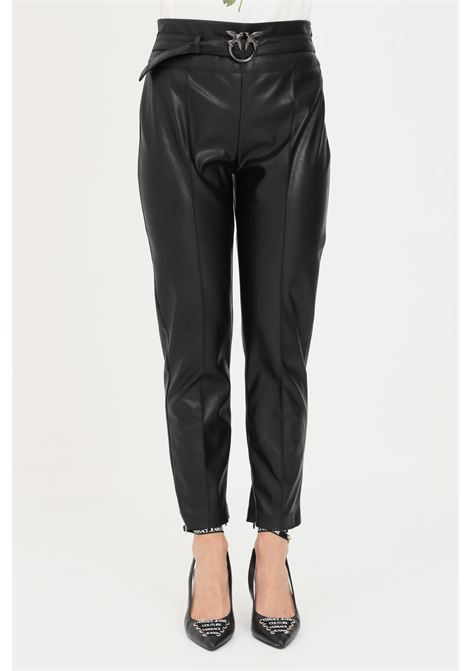 Black women's trousers with belt at the waist by pinko  PINKO | Pants | 1G16F6-7105Z99
