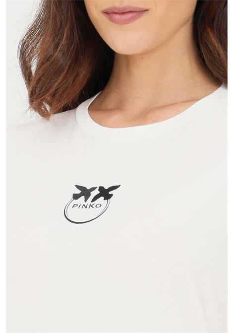 T-shirt donna bianco pinko a manica corta con ricamo frontale a contrasto PINKO | T-shirt | 1G16J6-Y651Z05