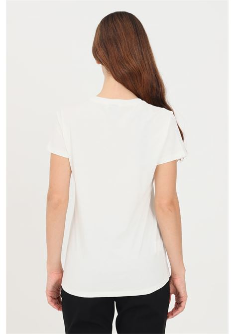 White women's t-shirt with contrasting embroidery on the front pinko PINKO | T-shirt | 1G16J6-Y651Z05