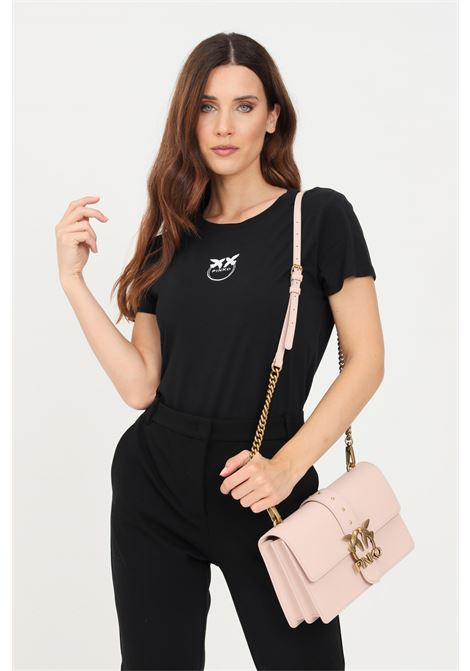 Black women's t-shirt with contrasting embroidery on the front pinko PINKO | T-shirt | 1G16J6-Y651Z99