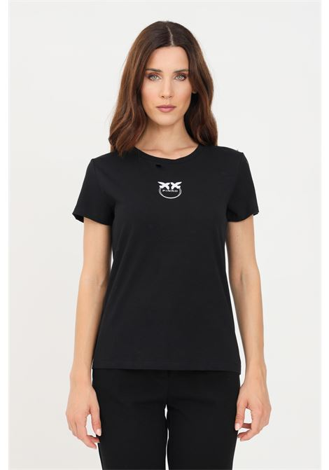 T-shirt donna nero pinko a manica corta con ricamo frontale a contrasto PINKO | T-shirt | 1G16J6-Y651Z99