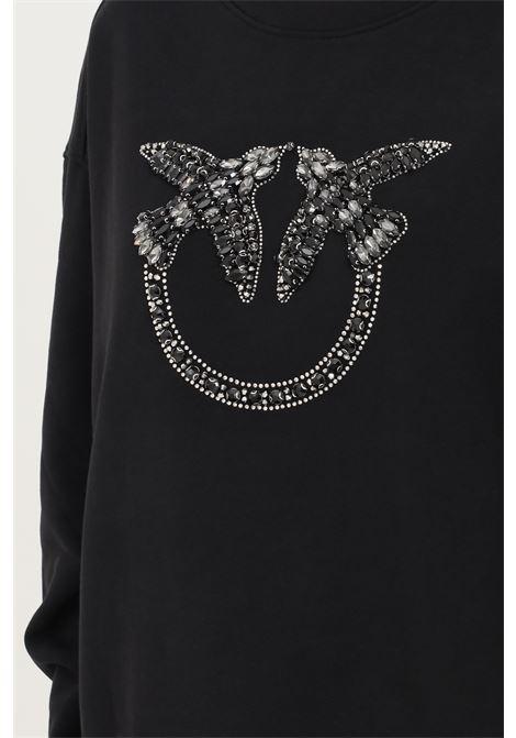 Black women's sweatshirt, crew neck model with front rhinestone application PINKO | Sweatshirt | 1G16J9-Y722Z99
