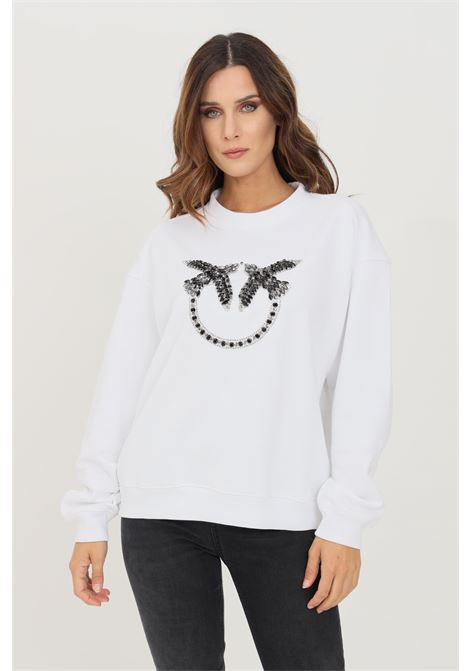 White women's sweatshirt, crew neck model with front rhinestone application PINKO | Sweatshirt | 1G16J9-Y722ZZ1
