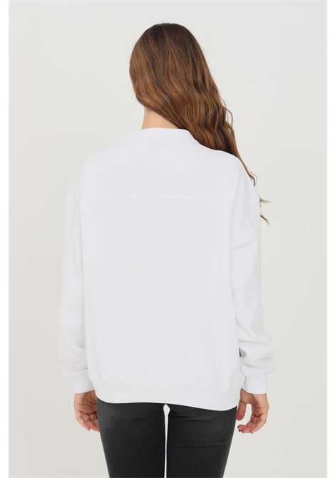 Felpa donna bianco pinko a girocollo con applicazione strass frontale PINKO | Felpe | 1G16J9-Y722ZZ1