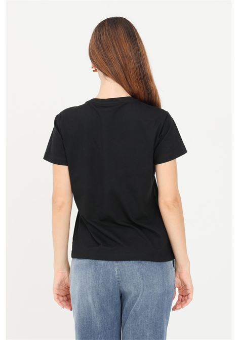 Black women's quentin t-shirt by pinko with front applications PINKO | T-shirt | 1G16JB-Y4LXZR4