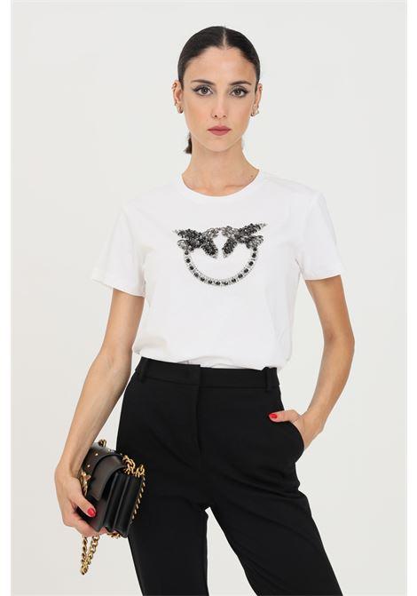 T-shirt quentin donna bianco pinko a manica corta con applicazioni PINKO   T-shirt   1G16JB-Y4LXZZ1