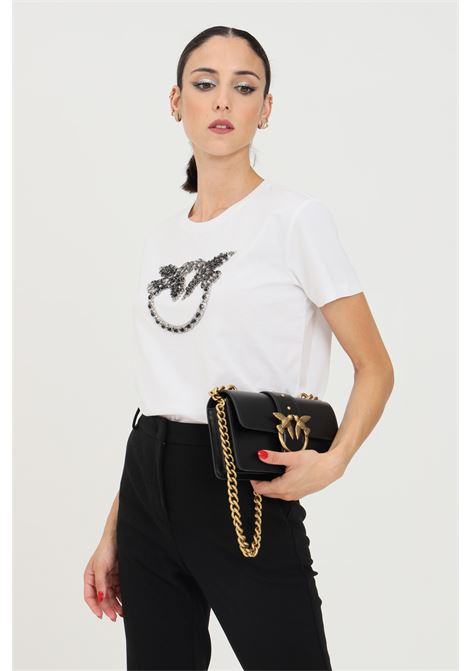 White women's quentin t-shirt by pinko with front applications PINKO | T-shirt | 1G16JB-Y4LXZZ1