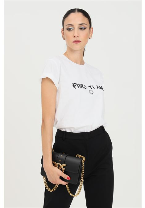 White women's t-shirt by pinko with applications on the front PINKO | T-shirt | 1G16JD-Y4LXZ04