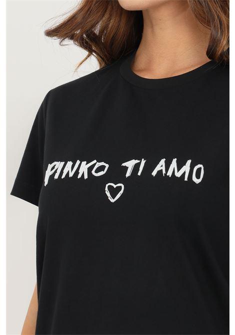 T-shirt donna nero pinko a manica corta con applicazioni sul fronte PINKO | T-shirt | 1G16JD-Y4LXZZ2