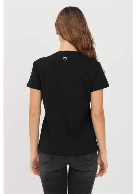 Black women's t-shirt by pinko with applications on the front PINKO | T-shirt | 1G16JD-Y4LXZZ2