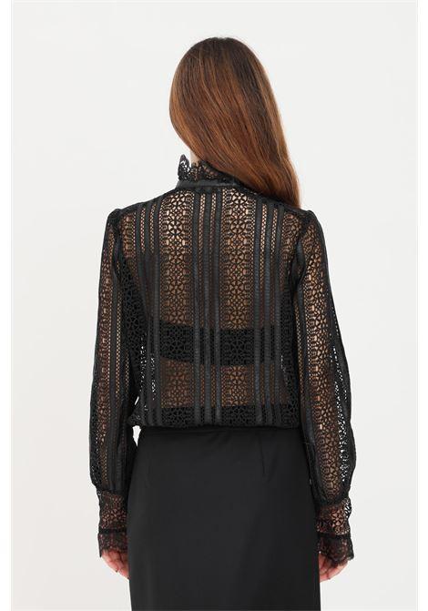 Camicia donna nero traforata pinko con bottoni PINKO | Camicie | 1G16MW-8588Z99